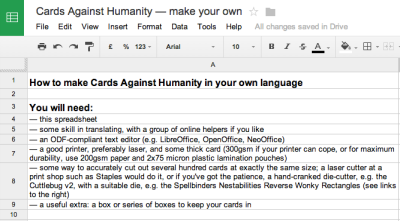 Cards Against Humanity — make your own